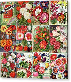 Vintage Childs Nursery Flower Seed Packets Mosaic  Acrylic Print
