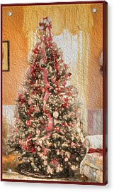 Acrylic Print featuring the photograph Vintage Christmas Tree In Classic Crimson Red Trim by Shelley Neff