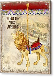 Vintage Circus Carousel - Roaring Lion Acrylic Print