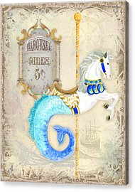Vintage Circus Carousel - Seahorse Acrylic Print by Audrey Jeanne Roberts