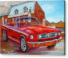Vintage Classic Cars Paintings Red Mustang At The Diner Montreal Canadian Art Carole Spandau         Acrylic Print by Carole Spandau