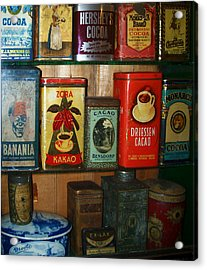 Vintage Cocoa Containers Acrylic Print by Turtle Caps