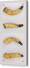 Acrylic Print featuring the photograph Vintage 1767 Colonial American Powder Horn Four Views by John Stephens