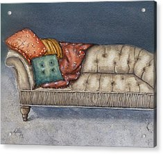 Acrylic Print featuring the painting Vintage Comfy Couch by Kelly Mills