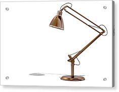 Vintage Copper Desk Lamp Acrylic Print by Allan Swart