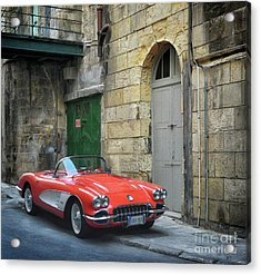 Vintage Corvette In Valletta Acrylic Print by Stephan Grixti