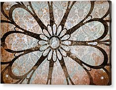 Vintage Damask Floral Abstract Acrylic Print by Frank Tschakert