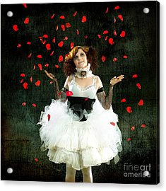 Vintage Dancer Series Raining Rose Petals  Acrylic Print