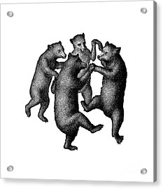 Acrylic Print featuring the drawing Vintage Dancing Bears by Edward Fielding