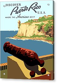 Vintage Discover Puerto Rico Wpa Travel Acrylic Print