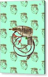 Vintage Drill Motor Green Trigger Pattern Acrylic Print by YoPedro