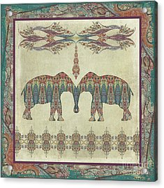 Acrylic Print featuring the painting Vintage Elephants Kashmir Paisley Shawl Pattern Artwork by Audrey Jeanne Roberts