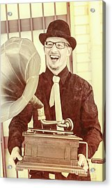 Vintage Entertainment Man Playing Golden Oldies Acrylic Print by Jorgo Photography - Wall Art Gallery