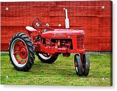 Vintage Farmall Tractor With Barnwood Acrylic Print