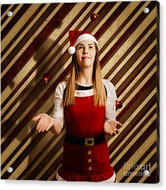 Vintage Female Elf Juggling Christmas Decorations Acrylic Print