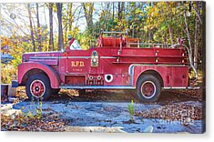 Acrylic Print featuring the photograph Vintage Fire Truck South Weare New Hampshire by Edward Fielding