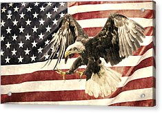 Acrylic Print featuring the photograph Vintage Flag With Eagle by Scott Carruthers