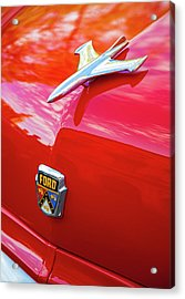 Acrylic Print featuring the photograph Vintage Ford Hood Ornament Havana Cuba by Charles Harden