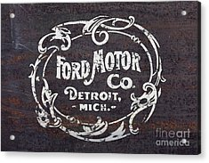 Vintage Ford Motor Co. Rusty Sign Acrylic Print by Edward Fielding