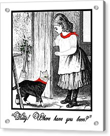 Vintage Girl Lets In Her Gray Cat Acrylic Print