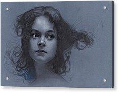 Vintage Girl - Pencil Drawing Acrylic Print