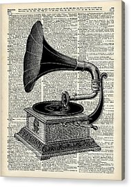 Vintage Gramophone Acrylic Print by Jacob Kuch