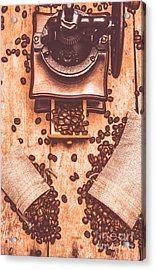 Vintage Grinder With Sacks Of Coffee Beans Acrylic Print by Jorgo Photography - Wall Art Gallery