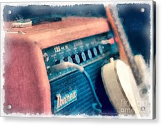 Vintage Guitar Amp Watercolor Acrylic Print by Edward Fielding