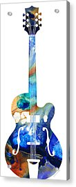 Vintage Guitar - Colorful Abstract Musical Instrument Acrylic Print by Sharon Cummings