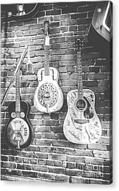 Vintage Guitar Trio In Black And White Acrylic Print