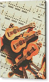 Vintage Guitars On Music Sheet Acrylic Print by Jorgo Photography - Wall Art Gallery