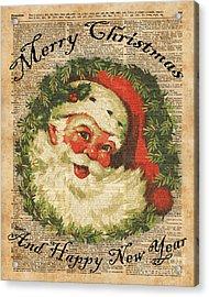 Vintage Happy Santa Christmas Greetings Festive Holidays Decor New Year Card Acrylic Print