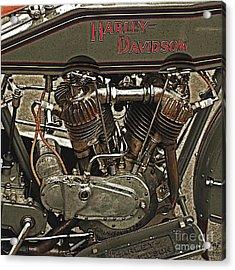 Vintage Harley Davidson. Acrylic Print by Curt Johnson
