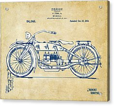 Vintage Harley-davidson Motorcycle 1919 Patent Artwork Acrylic Print by Nikki Smith