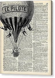 Vintage Hot Air Balloon Illustration,antique Dictionary Book Page Design Acrylic Print by Jacob Kuch