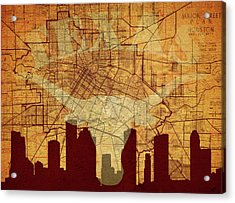 Vintage Houston Texas Skyline Acrylic Print