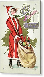 Vintage Illustration Of A Girl In A Santa Claus Suit With A Bag Of Christmas Toys Acrylic Print