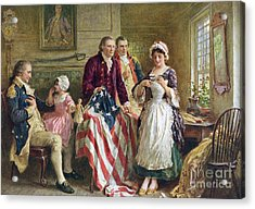 Vintage Illustration Of George Washington Watching Betsy Ross Sew The American Flag Acrylic Print