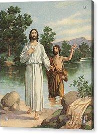 Vintage Illustration Of The Baptism Of Christ Acrylic Print