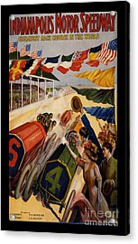 Vintage Indianapolis Motor Speedway Poster Acrylic Print