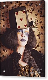 Vintage Jester Woman Wearing The Card Of Hearts Acrylic Print