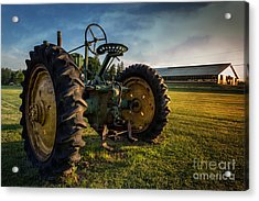 Vintage John Deere At Sunset Acrylic Print by Edward Fielding