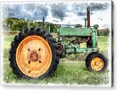 Vintage John Deere Tractor Watercolor Acrylic Print by Edward Fielding