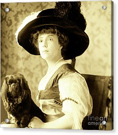 Acrylic Print featuring the photograph Vintage Lady With Lapdog by Marian Cates