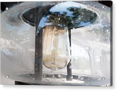 Vintage Light Bulb In An Old Glass Lantern In Sheboygan Wisconsin Acrylic Print