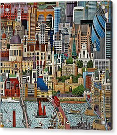 Acrylic Print featuring the drawing Vintage London by Digital Art Cafe