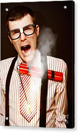 Vintage Male Business Dork Under Explosive Stress Acrylic Print