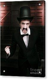 Vintage Man Fist Pumping Acrylic Print by Jorgo Photography - Wall Art Gallery