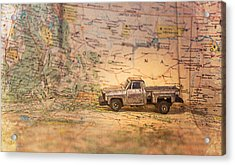 Acrylic Print featuring the photograph Vintage Map And Truck by Mary Hone