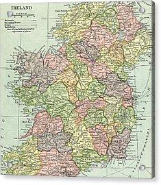 Vintage Map Ireland Acrylic Print